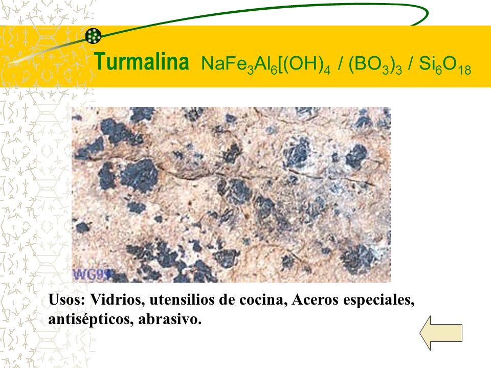 Turmalina NaFe3Al6[(OH)4 / (BO3)3 / Si6O18